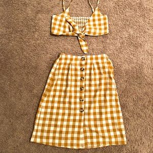 Women's mustard plaid two piece set